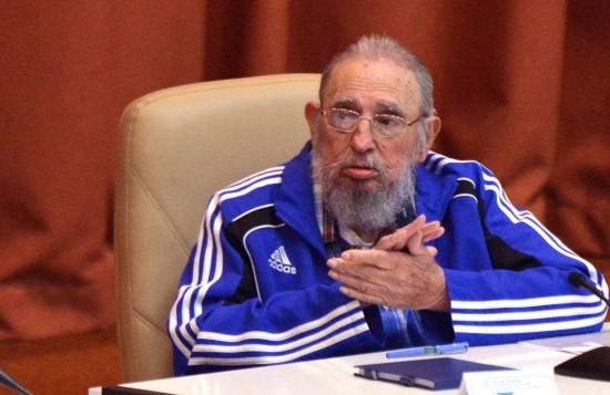 Fidel durante o 7º Congresso do Partido Comunista cubano, em 19 de abril de 2016