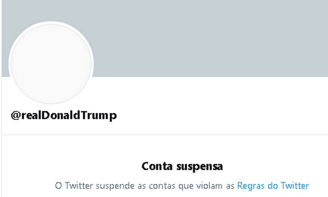 A conta de Donald Trump no Twitter foi suspensa por violar regras da rede social