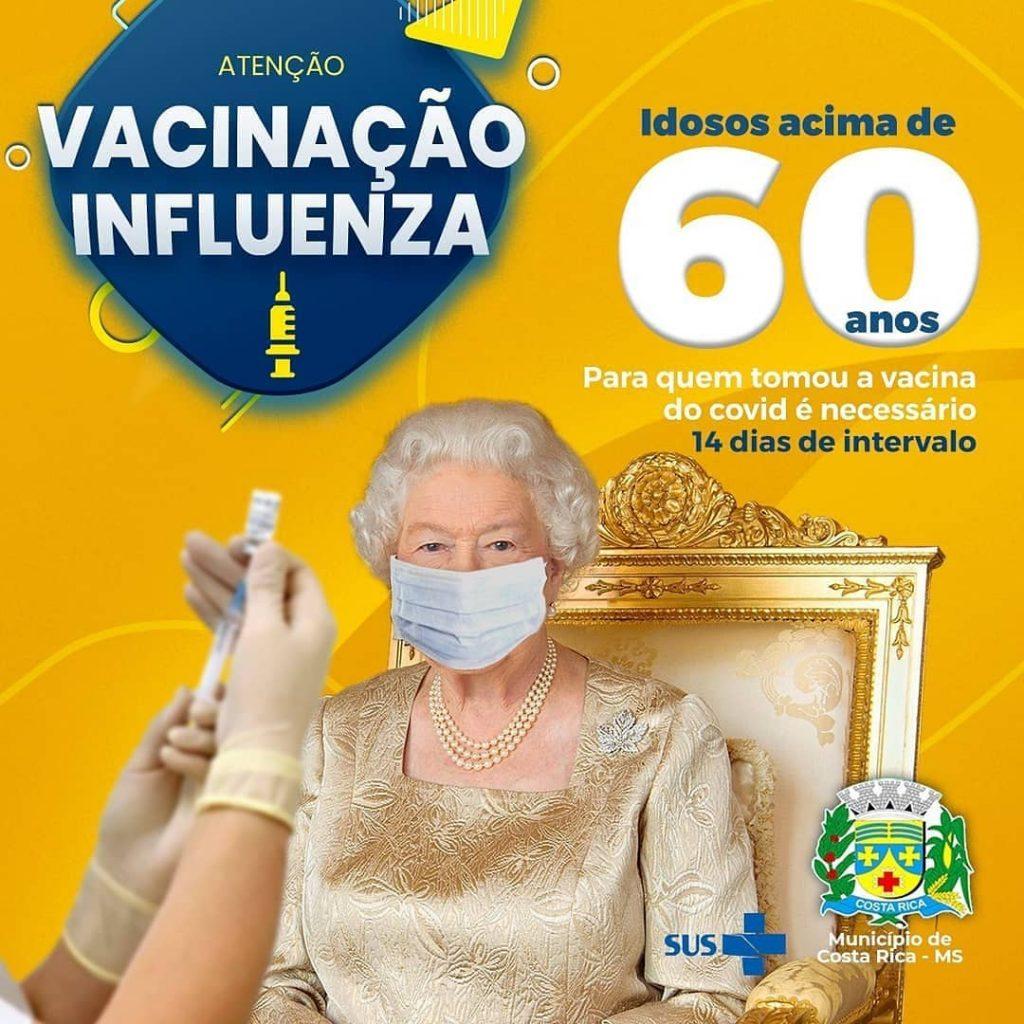 A rainha Elisabeth aparece em peça da campanha de vacinação contra a gripe de Costa Rica (MS)
